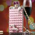 Zebra Swarovski Chanel Perfume Bottle Floral Rhinestone Cases For iPhone 5 - Pink