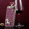 Zebra Swarovski Chanel Perfume Bottle Floral Rhinestone Cases For iPhone 5S - Purple
