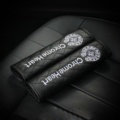 2pcs Top Leather Chrome Hearts Automoble Seat Safety Belt Covers Car Shoulder Pads - Balck