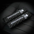 2pcs Top Leather MMJ Skull Automoble Seat Safety Belt Covers Car Shoulder Pads - Balck