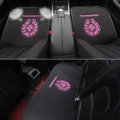 3pcs Best Plush Chrome Hearts Car Seat Cushions Covers Universal Winter Auto Mats Sets - Black Rose