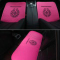 3pcs Top Leather Chrome Hearts Car Seat Cushions Universal Pads Sets Auto Seat Covers - Rose