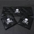 3pcs Top Leather MMJ Skull Car Seat Cushions Covers Universal Auto Seat Pads Sets - Black