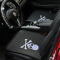 3pcs Top Leather MMJ Skull Car Seat Cushions Universal Pads Sets Auto Seat Covers - Black