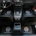 5pcs Chrome Hearts Leather Car Floor Mats Universal Embroidery Auto Carpet Mats Sets - Black