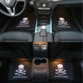 5pcs MMJ Skull Leather Car Floor Mats Universal Embroidery Auto Carpet Mats Sets - Black