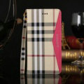 Burberry Pattern Genuine Leather Cases Book Flip Holster Cover For iPhone 7 Plus - Rose