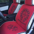 Calssic Chrome Hearts Universal Car Seat Covers Flax Silk Auto Cushion 5pcs Sets - Red