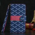 Calssic Goyard Pattern Flip Leather Cases Book Genuine Holster Cover For iPhone 7 - Blue