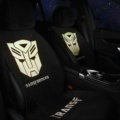 Calssic Transformers Silk Velvet Auto Cushion Universal Car Seat Covers 5pcs Set - Black