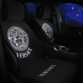 Calssic VERSACE Silk Velvet Auto Cushion Universal Car Seat Covers 5pcs Set - White Black
