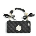 Candies Silicone Cover for iPhone 7 Fashion Bowknot Handbag Pearl Chain Soft Case - Black