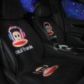 Cartoon Paul Frank Wool Velvet Auto Cushion Universal Car Seat Covers 11pcs Set - Black