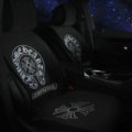 Chrome Hearts Silk Velvet Auto Cushion Luxury Universal Car Seat Covers 11pcs Set - Black