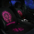 Chrome Hearts Silk Velvet Auto Cushion Luxury Universal Car Seat Covers 11pcs Set - Rose Black