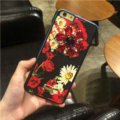 DG Crystals Leather Back Cover for iPhone 7 Dolce Gabbana Flower Pattern Hard Case - Black