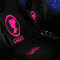 Fashion Girls Chanel Silk Velvet Auto Cushion Universal Car Seat Covers 5pcs Set - Rose Black