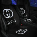 Fashion Gucci Silk Velvet Auto Cushion Universal Car Seat Covers 11pcs Set - Black