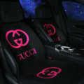Fashion Gucci Silk Velvet Auto Cushion Universal Car Seat Covers 11pcs Set - Rose Black