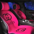 Fashion Gucci Silk Velvet Auto Cushion Universal Car Seat Covers 11pcs Set - Rose