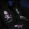 Fashion Skull mastermind Silk Velvet Auto Cushion Universal Car Seat Covers 5pcs Set - Black