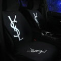 Fashion YSL Silk Velvet Auto Cushion Universal Car Seat Covers 5pcs Set - Black