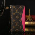 LV Big Flower Pattern Genuine Leather Cases Flip Holster Cover For iPhone 7 Plus - Rose