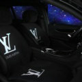 LV LOUIS VUITTON Silk Velvet Auto Cushion Universal Car Seat Covers 5pcs Set - White Black