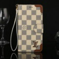Louis Vuitton LV Flip Leather Cases Beige Checks Pattern Button Holster Cover For iPhone 7 - Brown