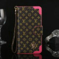 Louis Vuitton LV Small Flower Flip Leather Cases Button Book Holster Cover For iPhone 7 - Rose