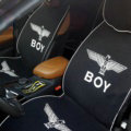 Luxury Boy Universal Car Seat Covers For Summer Flax Silk Auto Cushion 5pcs Sets - Black