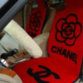 Luxury Chanel Flower Thickened Wool Car Seat Cushion Free Tie Universal 5pcs Set - Red