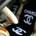 Luxury Chanel Thickened Wool Car Seat Cushion Free Tie Universal 5pcs Set - Black