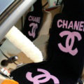 Luxury Chanel Thickened Wool Car Seat Cushion Free Tie Universal 5pcs Set - Pink Black