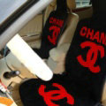Luxury Chanel Thickened Wool Car Seat Cushion Free Tie Universal 5pcs Set - Red Black