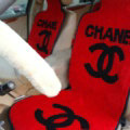 Luxury Chanel Thickened Wool Car Seat Cushion Free Tie Universal 5pcs Set - Red