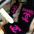 Luxury Chanel Thickened Wool Car Seat Cushion Free Tie Universal 5pcs Set - Rose Black