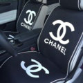 Luxury Chanel Universal Car Seat Covers For Summer Flax Silk Auto Cushion 5pcs Sets - Black