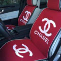 Luxury Chanel Universal Car Seat Covers For Summer Flax Silk Auto Cushion 5pcs Sets - Red