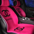 Luxury Chanel Wool Velvet Auto Cushion Women Universal Car Seat Covers 5pcs Set - Rose