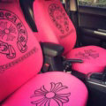 Luxury Chrome Hearts Universal Auto Seat Covers For Cars Cotton Full Set 10pcs - Rose