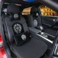 Luxury Crystals Ice Silk Chrome Hearts Car Seat Covers Four Seasons General Seat Cushion 10pcs Sets - Black