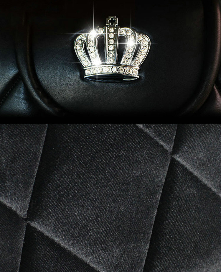 buy wholesale luxury crystals plush crown car seat covers punk rivet universal auto seat cushion. Black Bedroom Furniture Sets. Home Design Ideas