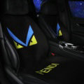 Luxury FENDI Wool Velvet Auto Cushion Universal Car Seat Covers 11pcs Set - Black