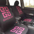 Luxury GIVENCHY Universal Auto Seat Covers For Cars Cotton Full Set 10pcs - Rose Black