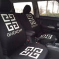 Luxury GIVENCHY Universal Auto Seat Covers For Cars Cotton Full Set 10pcs - White Black