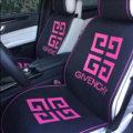 Luxury Givenchy Universal Car Seat Covers For Summer Flax Silk Auto Cushion 5pcs Sets - Rose Black