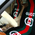 Luxury Gucci Thickened Wool Car Seat Cushion Free Tie Universal 5pcs Set - Black