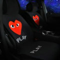 Luxury Heart PLAY Wool Velvet Auto Cushion Universal Car Seat Covers 5pcs Set - Black