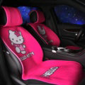 Luxury Hello Kitty Wool Velvet Auto Cushion Universal Car Seat Covers 11pcs Set - Rose